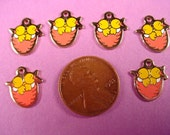 6 Vintage Enameled Baby hatching Chicks chickens Charms