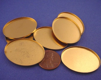 8 Brass Oval Bezel Cups 33x25