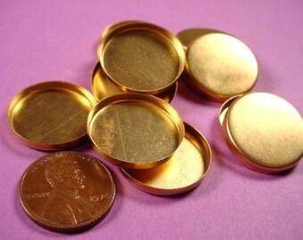 12 Brass Round Bezel Cups 22mm High Wall