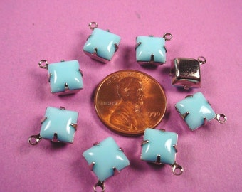6 Vintage Light Blue Calcedon Square Glass Stone Drops 8x8 Silver setting 8mm