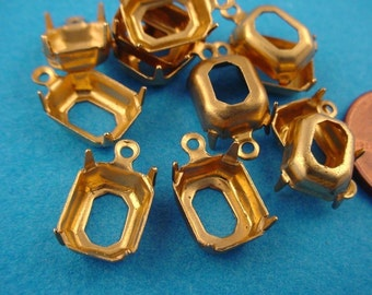 24 Brass Octagon Prong Setting Open Back 1 Loops 10x8