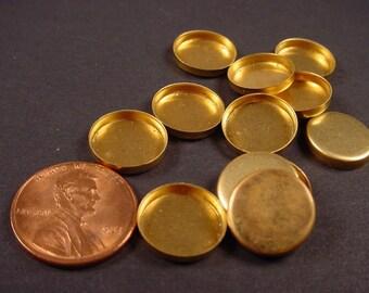 24 Brass Round Bezel Cups Settings 12mm High Wall