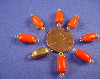 6 Vintage Tangerine orange Glass Octagon opaque  Connectors 10x5 brass setting