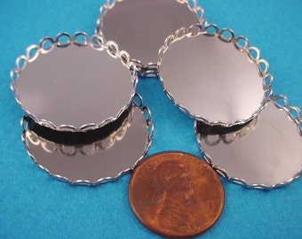 8 Silver tone Round Lace Edge Bezel Cups 26mm