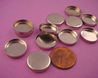 12 Silver tone Round Bezel Cups 16mm High Wall