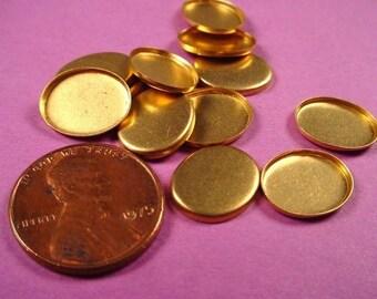 12 Brass oval bezel cups 12x10 High Wall