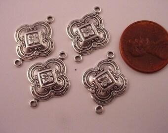 6  silver ox   art nouveau Victorian connectors 17mm 2 ring