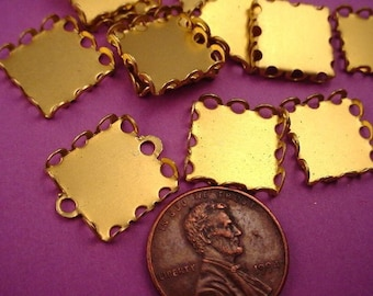 18 Brass Square Lace Edge Bezel Cups 13mm
