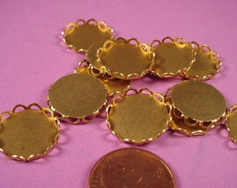 16 Brass Round Lace Edge Bezel Settings 15mm