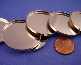 4 Silver tone Round Bezel Cups 36mm High Wall