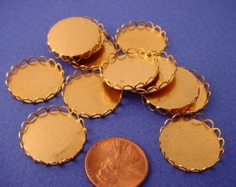 12 Brass Round Lace Edge Bezel Settings 20mm