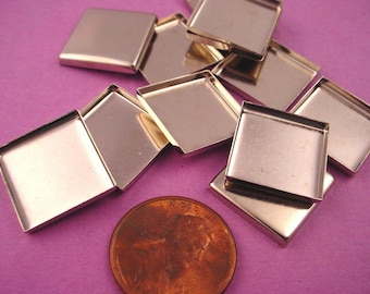 12 Silver tone Square Bezel Cups 15mm