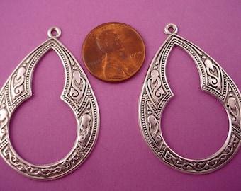 4 silver ox Arabian style key hole cut out Gypsy hoop charms 43mm
