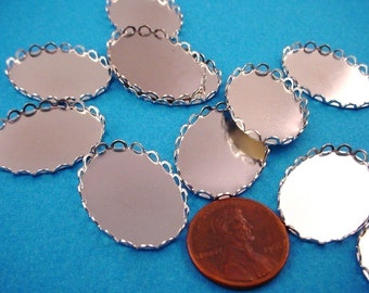 12 Silver tone Oval Lace Edge Bezel  setting Cups 18x13