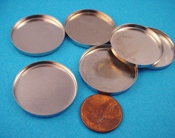 6 Silver tone Round Bezel Cups 28mm High Wall
