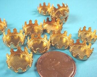 18 Brass Round Crown Edge Bezel Cups 11mm