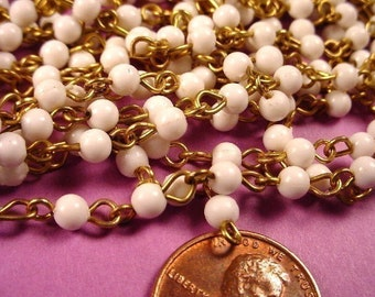 10 feet Vintage White Bead Link Chain