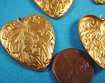 4 Old Stock Brass Floral art nouveau Heart Charm Stampings  29mm