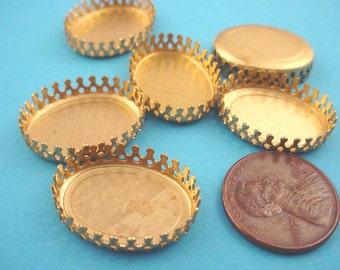 6 Brass Oval Crown Bezel Settings 20x15