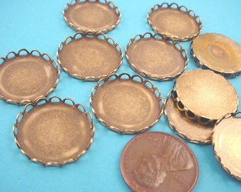 10 Brass Ox Round Lace Edge Bezel Cups 18mm