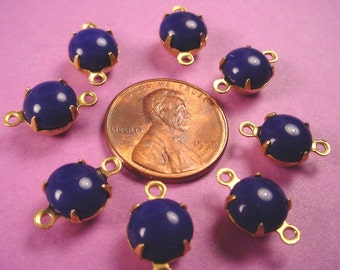 6 Vintage navy  Blue Lapis Glass Round brass  Connector Charms 8mm
