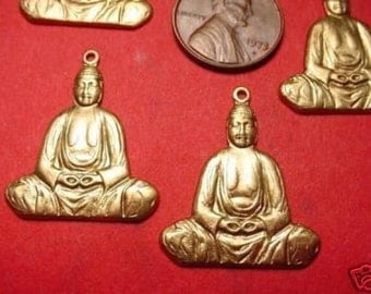 4 brass buddha stampings charms