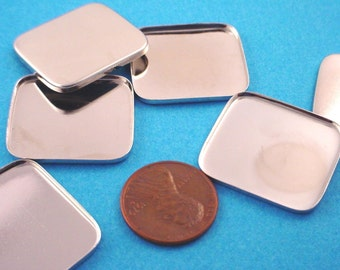 6 Silver tone Rectangle Rounded Corner Bezels 26x23