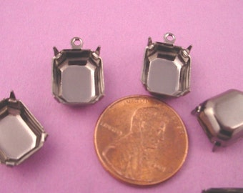 12 black Gunmetal Octagon Prong Setting Drop Charms 12x10 closed back