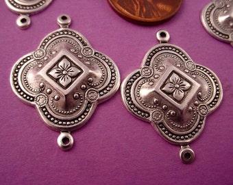 6 Silver Ox Moorish Style art nouveau  Connectors 26mm