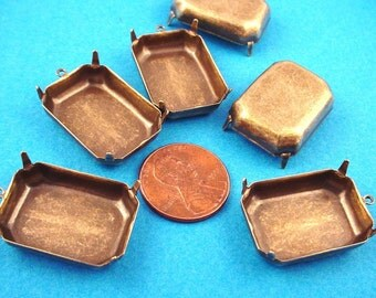 10 Brass Ox Octagon Prong Settings with Loop 25x18 Closed back