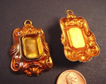 2 Vintage Copper Plated Ornate Setting 14x10 with Loop
