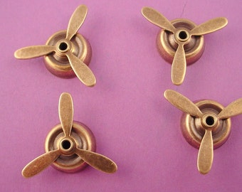 4 antique brass ox mounted propellers 22mm aviation retro  airplane aviation spin