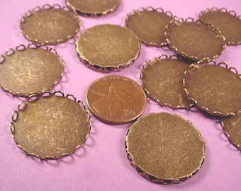 8 Brass Ox Round Lace Edge Bezel Cup 22mm