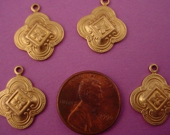 6 unplated brass medieval moorish style charms 17mm