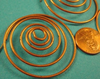 4 Vintage Copper coil Plated Wire Spirals with Posts Earrings