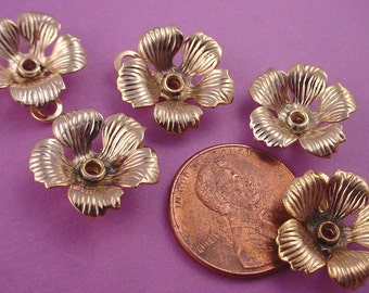 5 Vintage Gold Plated dapped Flower Charm Setting with loop 16mm