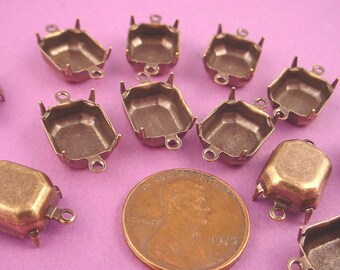16 Brass Ox Octagon Prong Setting Connectors 12x10 2 Ring Closed Backs