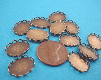 Brass Ox Oval Lace Edge Bezel Cups 14x10 - 12 Pieces