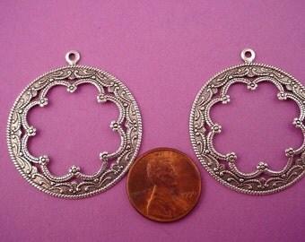4 silver ox scalloped Victorian Art Nouveau Arabian  Gypsy style cut out hoops