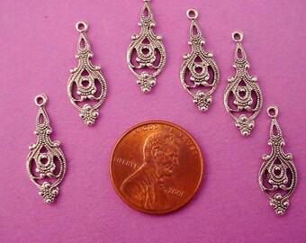 8 silver ox victorian filigree cello charms 21mm