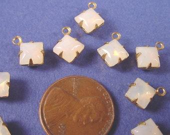 Vintage Opal Glass Square Drop Charms 6mm