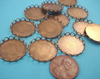 8 brass ox round lace bezels 20mm