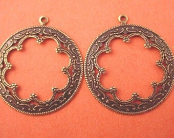 4 brass ox arabian  Victorian style scalloped hoops charms 35mm