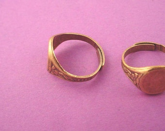 2 brass ox floral adjustable ring shank with 10mm pad