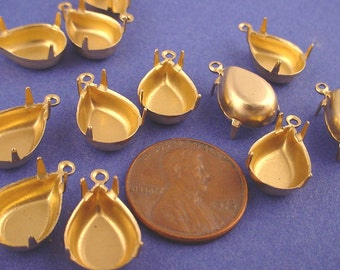 18 Brass Pear Prong Settings 14x10 1 Ring Closed Backs