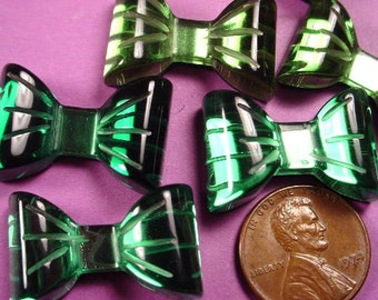 6 Vintage Green Mirrored Flat Back Lucite Bow Cabochons 25x16mm