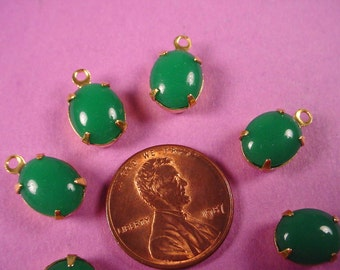 6 Vintage Jade Glass Oval Stone Drop Charms 10x8