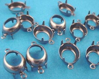 18 Silver ox Oval Prong Settings 12x10 2 Ring Open back