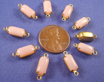 Vintage Pink Glass Octagon Stone Connectors 10x5 Brass Prong Settings 2 Ring Closed Backs Earring Dangles, Earring Drops - 6 Pieces
