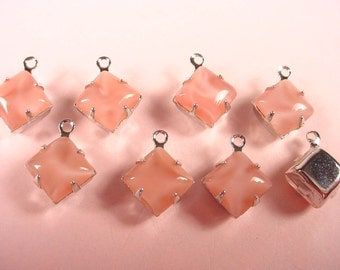 6 Vintage Pink Moonstone  Square Stone Drops 8mm SILVER Prong Settings 1 Ring Closed Backs